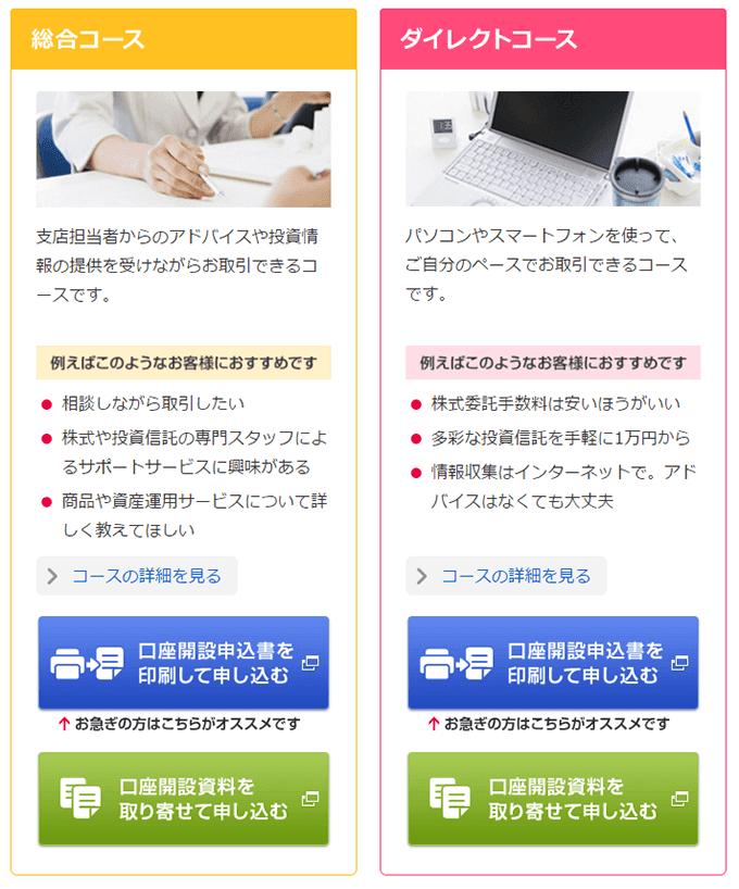 SMBC日興証券「総合コース」と「ダイレクトコース」