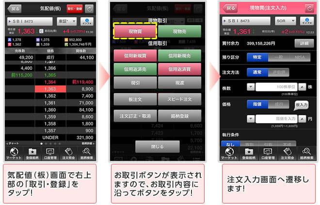 SBI証券のアプリ「HYPER株アプリ」画面