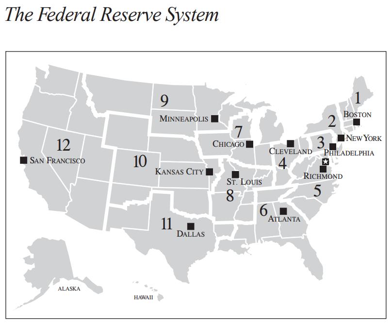連邦準備銀行のマップ